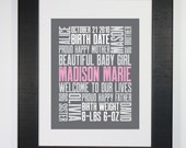 3rd Baby 8x10 Typography Print Letterpress Style Custom Birth Announcement Modern Word Art Subway Art