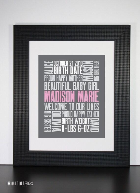 3rd Baby 8x10 Typography Print Letterpress Style Custom Birth Announcement Modern Word Art Subway Art