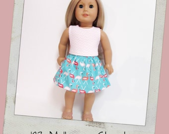 "18"" Doll Clothes, AG doll clothes- Blush Chevron Tank top and Flamingo print skirt fits 18"" dolls like American Girl, Maplelea"
