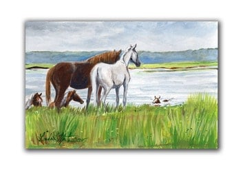 Chincoteague Pony Artwork  Acrylic LLMartin Original Watercolor Painting Virginia Country  Free Shipping USA