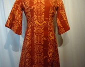 Hawaiian Dress Tiki Dress Shaheen Tiki Print Bust 44 inches