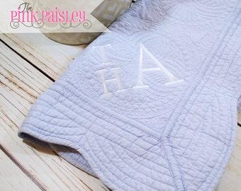 Monogram Baby Quilt Blanket | Monogrammed Baby Blanket | Baby Boy Blanket | Baby Girl Blanket | Embroidered Baby Quilt