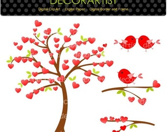 ON SALE Valentine's day clipart, instant download clipart,Tree clipart, red heart tree and birds,flowers, birds ,wedding, engagement clipart