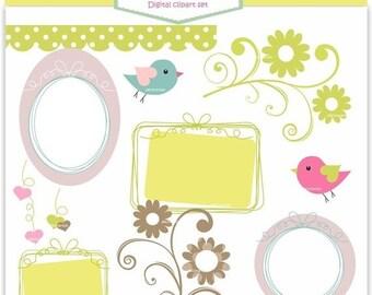 ON SALE Frame Clip Art _ Birds Frame Border, Label Clipart Ribbon Frame, Instant Download