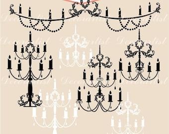 ON SALE Clip art chandelier, digital clipart