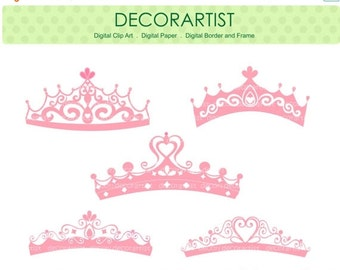 ON SALE princess clipart , tiara clipart , Silhouette Princess tiara clipart, princess, Pink,  instant download clipart