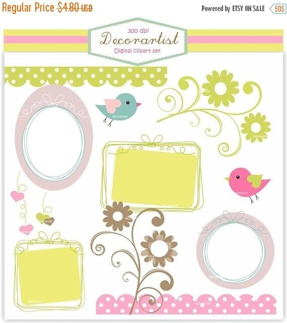 ON SALE Frame clip art, border, label clip art ribbon frame , INSTANT Download