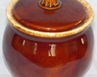Vintage Hull Pottery Mirror Brown Sugar Bowl with Lid Brown Drip