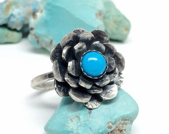 Sterling Silver Succulent Ring, Flower Ring, Turquoise Ring, Succulent Jewelry, Western Turquoise Jewelry for women