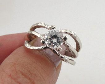 925 Silver Ring , Size 6.5, Engagement Ring, Halo ring, Brilliant Ring, Promise Ring , Crystal Swarovski ring, Wedding Ring, CZ Silver Ring