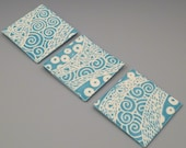 "Carved Graphic Turquoise Blue Tile Set of 3 - 4"" x 4"" Porcelain Tiles"