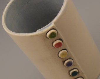 Multi-Colored Button Vase/Utensil Holder - Off White and Steel Blue - 6""