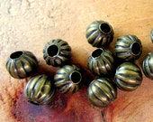 50 Metal beads antique bronze spacer focal jewelry making supplies 5mm- 186