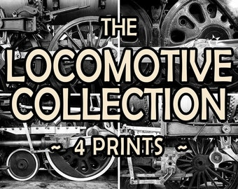 Sale Locomotive Photograph Collection, Black and White Train Photo Set, Discount Man Cave Gifts for Guys #vin5