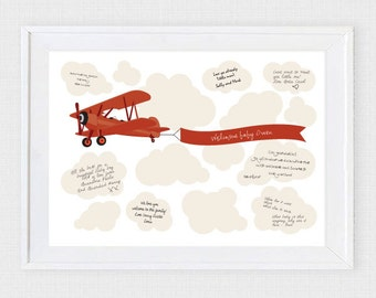 biplane boys baby shower guest book - printable diy - signature, bi plane airplane, children's kids birthday, aviation nursery art keepsake