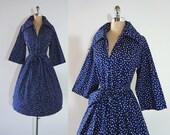 Vintage 1960s Navy Blue Polka Dots Cotton Belted Full Skirt Dress M