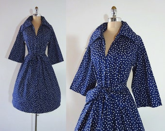 Vintage 1960s Navy Blue Polka Dots Cotton Belted Full Skirt Dress M