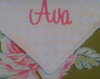 Personalized Monogrammed Heather Bailey Baby Security Lovey Blanket Minky Baby Girl 18x18