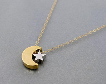 Star moon necklace, gold crescent moon silver star necklace, dainty small charm pendant, gold filled chain, everyday jewelry, holidays gift