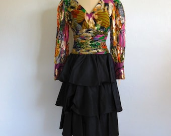 80s multi color LAME  cocktail dress by D'Crenza of Beverly Hills NWT size small