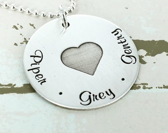 "Personalized 1"" family love necklace - Engraved Necklace - Mother Necklace - Mom Jewelry - Personalized Necklace - Kids name necklace"