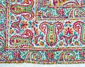 Vintage India Tablecloth Bedspread Fabric - Hand Blocked Dye Cotton - Two Panels