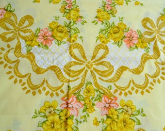 Vintage Pillowcase - Yellow and Coral Pink Roses and Bows - Standard Size