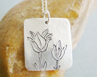 Fine silver tulips art clay silver necklace for mummy, wedding gift, thank you gift, bridal gift
