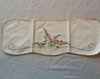 Vintage Dresser Scarf with Hand Embroidered Duck and Flowers