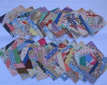 Lot Vintage Quilt Blocks / 20 Hand Pieced Crazy Quilt Blocks