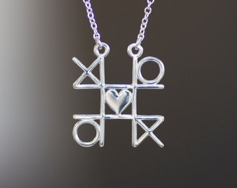 XOXO Tic Tac Toe Necklace, Sterling Silver Heart Pendant, Gaming Jewelry, Game 2