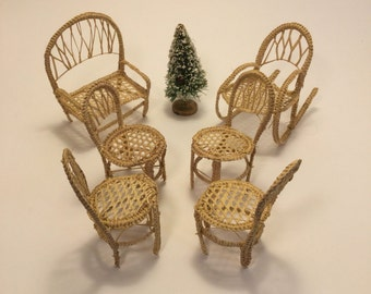 miniature toy doll house wicker furniture chairs