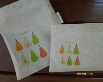 Reusable sandwich bag -Unbleached cotton sandwich bag - Ecofriendly sandwich bag - Reuse snack bag -  Pears on natural unbleached cotton