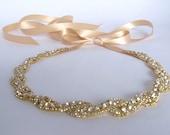 Gold Rhinestone Bridal Headband,Bridal Accessories,Wedding Accessories,Crystal Wedding Hairband,Bridal Headpiece,#H21