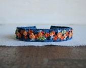 Floral Textile Art Cuff Bracelet - Orange Roses on Blue Linen Cuff Bracelet