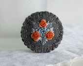 Embroidered Brooch - Orange Roses on Dark Grey Linen - Textile Art Jewelry - Fabric Brooch - Gift For Her - Under 30 - Handmade by Sidereal
