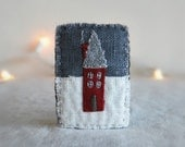 Little Red Cabin Brooch - Hand Embroidered Wearable Art Pin - Hostess Gift - Under 30 - Handmade by Sidereal