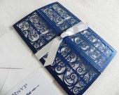 Art Deco Navy Blue Laser Cut Wedding Invitation Suite for Vintage Wedding - Laser Cut Gate Fold, Insert Card, RSVP Card, and Envelopes
