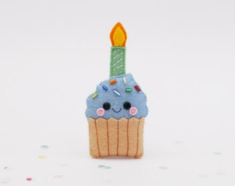 Blue Birthday Cupcake Felt Pin with Candle
