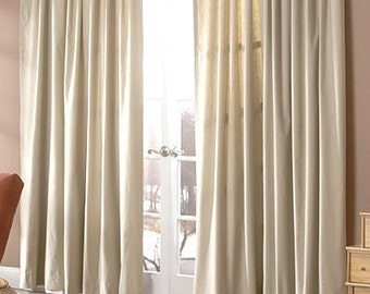 Pair oatmeal linen drapes,  rod pocket curtain panels, 100% linen