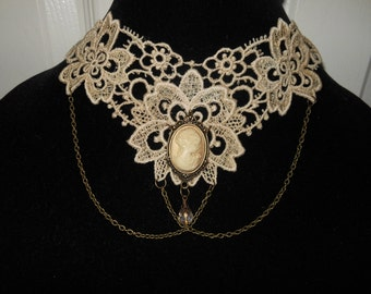 Choker in Tan Cream Dyed Cream Cameo Brass Chain Venise Lace Victorian Style Necklace Wearable Art Runway