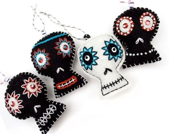 One Whimsical Sugar Skull ornament, white or black felt with hand embroidery, Creepy Christmas ornament