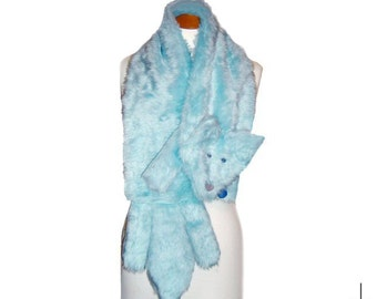 Plush Fun Fox Stole pastel baby blue faux fur animal scarf