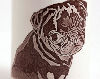 Naughty Black Pug Puppy Tumbler Vase Pencil Holder in Round and Brown