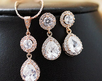 Rose Gold Cubic Zirconia Bridal Jewelry Set Wedding Earrings and Necklace Set Bridal Party Gift Bridesmaid gifts Bridesmaid Jewelry Set