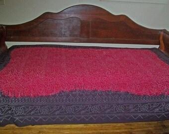 Large Batik Dip Dye Cotton Tablecloth, Twin Bedspread - Red, Dark Plum - Dots