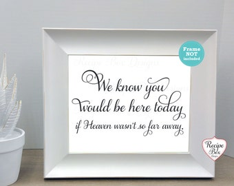 Memorial Wedding Sign, We Know you would be here, Wedding Memorial, Wedding Signs, Decorations, Remembrance Sign Heaven Sign, 8x10 NO FRAME