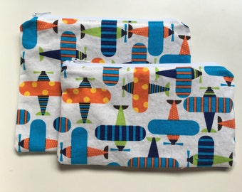 Zipper Bag Set, Reusable Snack Bag,  Essential Oil Bag, Make Up Bag - Airplanes