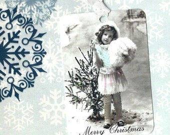 Christmas, Gift Tags, Vintage Image, Victorian Girl, Merry Christmas