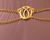 Vintage Gold Metal Chain Snake Belt - adjustable